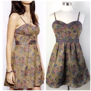 Free People | Floral Tapestry Corset Top Dress